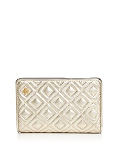 Tory Burch - Fleming Medium Slim Metallic Leather Wallet